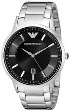 NEW GENUINE EMPORIO ARMANI AR2457 BLACK DIAL SILVER STAINLESS STEEL MEN'S WATCH