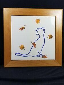 VTG 2002 Whisker Design Framed Tile/Trivet, Cat with Falling Leaves, New/Mint