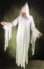 Adult Lady White Ghost Scary Mary Nun Costume Hooded Robe Witch Fancy Dress