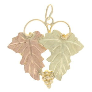 Yellow Gold Etched Grape Leaves Pendant - 12k Grape Cluster