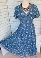 ANOKHI FOR EAST Blue Indian Cotton Midi Dress Sz 12 Block Print / b24