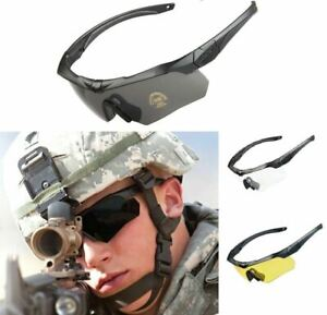 ANSI Z87.1 Tactical Military Ballistic Shooting Sunglasses With 3 Color Lenses