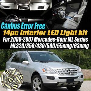 14Pc Error Free White Interior LED Light Kit for 2000-07 Mercedes-Benz ML Series