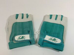 Vintage Fingerless Teal/White Sport Gloves. New Old Stock. Cycling/Gym/Yard Work