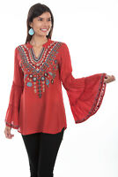 Scully Women's Embroidered V Neck Tunic HC500