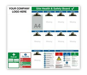 Site Safety Notice Boards - 3mm AluComposite with Q-Connect board clips F10 RAMS
