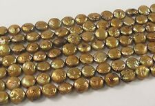 10 mm B Grade Flat Coin Genuine Freshwater Pearl Beads Gold Champagne (#423)