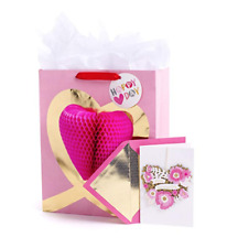 Hallmark Valentine's Day Large Gift Bag w/Tissue Paper& Signature Greeting Card