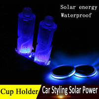 2x Car Solar Cup Holder Bottom Pad Blue LED Light Cover Trim Atmosphere Lamp