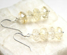 Citrine Natural Golden Gemstone 10mm Roundel Earrings 925 Sterling Silver Hooks