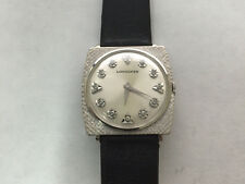 AUTHENTIC MENS LONGINES MECHANICAL 14KT WHITE GOLD WATCH WITH 12 DIAMONDS
