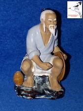 """Chino Mudman Estatuilla « pescador » Orientales Adorno Firmado Wan Jiang H7 """", No. 55"""