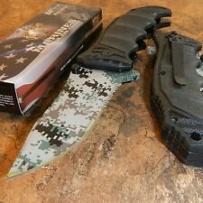 USMC OFFICIALLY LICENSED US MARINES DIGITAL CAMO ASSISTED OPENING TACTICAL KNIFE