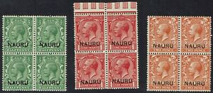 NAURU 1916 - 23 KGV 1/2D 1D AND 2D BLOCKS */**