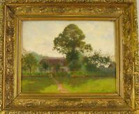 """Albert Fournier: """"Sommerliche Landschaft mit Villa und Personenstaffage"""" 1902"""