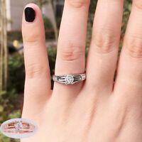 Rings 925 Silver  Round  Cut  Women  Sapphire  Elegant  White  Ring Size 6-10