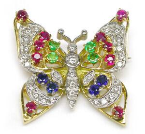 1.50ct Round Diamond Ruby Emerald Sapphire 14K Yellow Gold Butterfly Brooch Pin