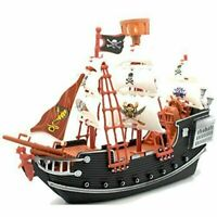 Kids Plastic Model Pirate Ship Playset With 2 Figures Action Toy Boat 3 years +
