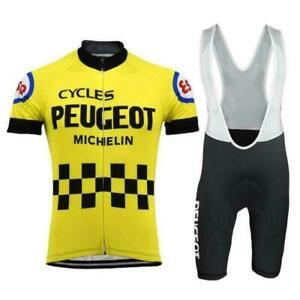 Retro 1977 Peugeot Esso Cycling Jersey Bib Shorts Mens Cycling Bib shorts set