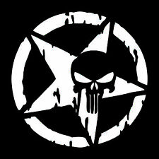 Auto Punisher Star Skull Pentagram Car Sticker Vinyl Decal Truck Window 13x13cm