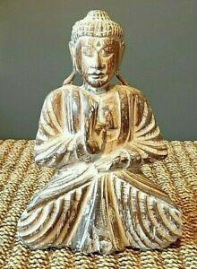 Wooden Buddha Dark Brown Whitewash 30cm NEW
