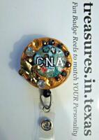 Fleur de Lis CNA Browns Golds  Retractable Reel ID Badge Holder YOU PICK REEL
