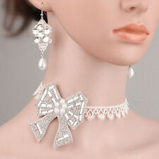Bridal Lace Vintage Style Drop Earrings Bow Knot Necklace Jewellery Set  S785