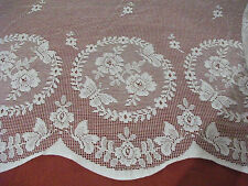 Vintage Cotton White Nottingham, Butterfly Garden Lace curtain 45cms drop
