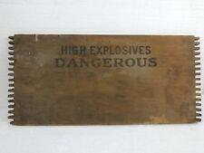 """WOOD """"HIGH EXPLOSIVES DANGEROUS"""" ANTIQUE DECOR SIGN"""