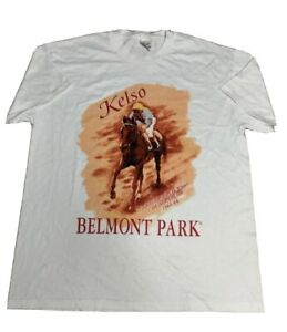 VTG 90s KELSO horse of the year racing t shirt Belmont Park  jockey club Large