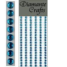 120 x 5mm Turquoise Diamante Self Adhesive Strips Rows Rhinestone Craft Gems