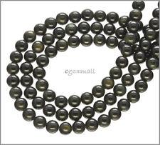 "Black Rainbow Obsidian Round Beads ap.6mm 15.8"" #89002"