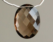 BIG AAA Smoky Quartz Faceted Pear Briolette Bead Focal Point Pendant 001