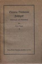 Clemens franc frühlyrik-chronologie et développement (% de Jaeger) 1926