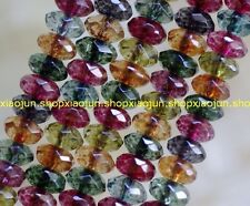5x8mm Faceted Multicolor Tourmaline Abacus Gems Loose Beads 15''