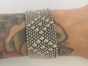 RARE SG Liquid Metal by Sergio Gutierrez Silver Mesh Cuff Bracelet Snap Closure