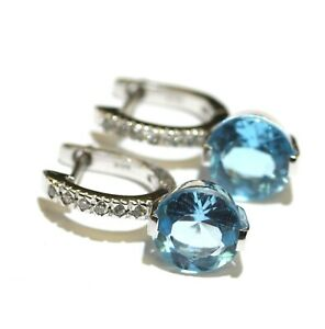 """14k white gold diamond blue topaz dangle earrings 3.5g Natural gemstone 3/4"""""""