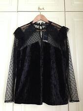 NEXT black velvet net lace high neck top blouse mod goth gothic victorian 16 NWT