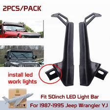 """1987-1995 Jeep YJ Wrangler Upper Lower Mount Bracket For 50"""" 288W LED Light Bar"""
