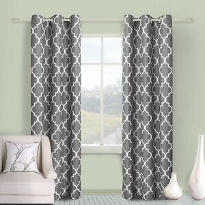 2 Piece Geometric Trellis Grommet Top Window Treatment Curtain Panel Drape Set