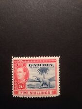 Gambia 1938 GVI 5/- SG 160 Mounted Mint Blue And Vermilion