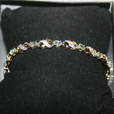 3.00 Aquamarine Diamond Tennis Bracelet Yellow 14k Gold over 925 SS 7 Inches