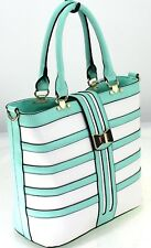 Women Ladies Faux Leather Designer Inspired Shoulder Bag Tote Handbag Green