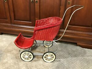 1940's Vintage Red Wicker Doll Stroller