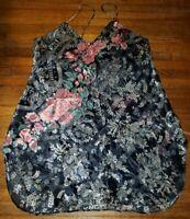 Vintage Deena Black Floral Satin Silk Camisole Cami Top Gown Lingerie L 0120
