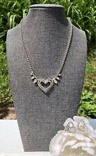 Lovely Vintage Jay Flex Sterling Silver Rhinestones Heart Necklace Earrings Set