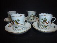 Set of 4 Herend (8 Pieces) Rothschild Bird Trembleuse Tea Cups/Saucers - RARE!