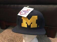 RARE Vintage NCAA Michigan Wolverines  Front Row Snapback Cap, Blue NEW NWT