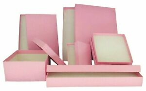 Lot of 20 50 100 Light Pink Kraft Cotton Filled Jewelry Packaging Gift Boxes