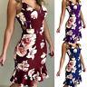 Lady Fashion Summer Floral Sleeveless Dress Ruffle Beach V Neck Sundress Holiday